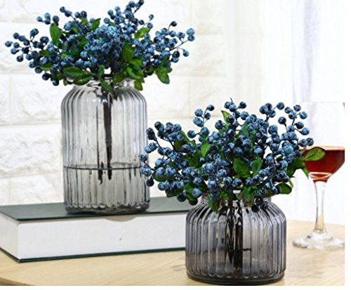 URTop 12 Pcs Plastic Artificial Flowers California Berries Blueberry Fruit Fake Silk Flowers Home Decorative Party Wedding (Blue) by URTop