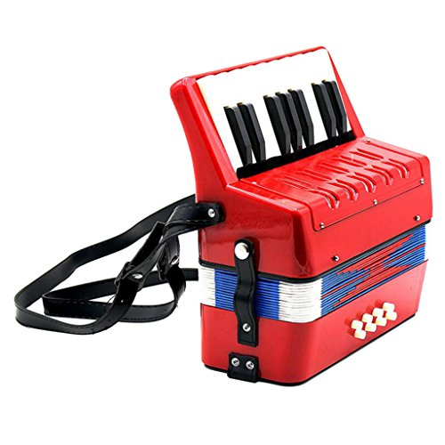 Dovewill 17 Key 8 Bass Small Accordion Children Student Music Instrument Toy Xmas Gift Red by Dovewill