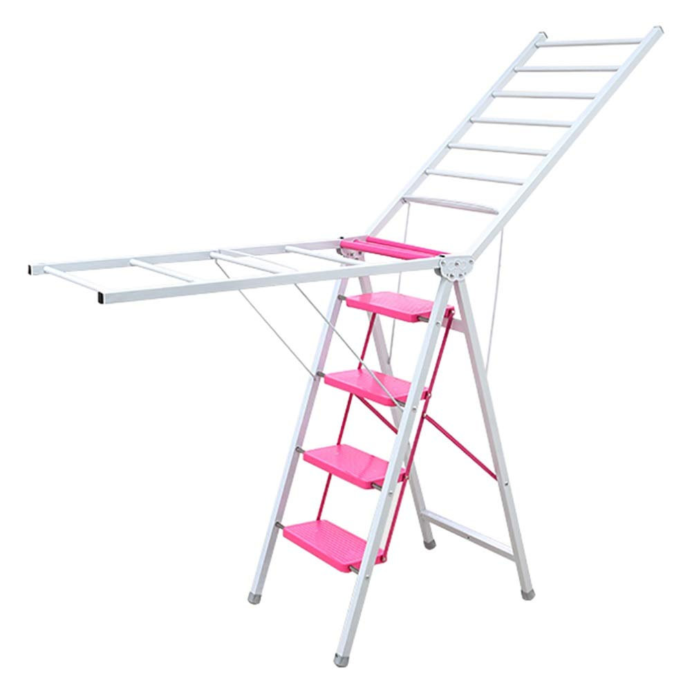 LXF Step stool Wide Pedal Folding 4-step Ladder, Indoor Airfoil Drying Rack, Multi-function Household Stepladder, Anti-slip (color : Yellow)
