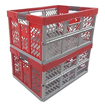 2 x Profesional - Caja plegable TÜV certficado 45 L hasta 50 kg plata / rojo caja plegable Plástico Caja Cajón: Amazon.es: Hogar