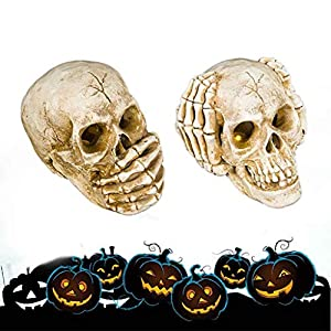 Fan-Ling Resin Crafts,Dinosaur Skull Fossil Teaching SkeletonModel, Halloween Decoration,Halloween Spooky poseable Skull,Halloween Skeleton Props,Best Halloween Decoration (A)