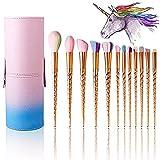 Makeup Brushes Set Colorful Unicorn 12Pcs Foundation Eyebrow Eyeliner Eye-shadow Brush Cosmetic Conceler Brushes Kit Tool (Gold)