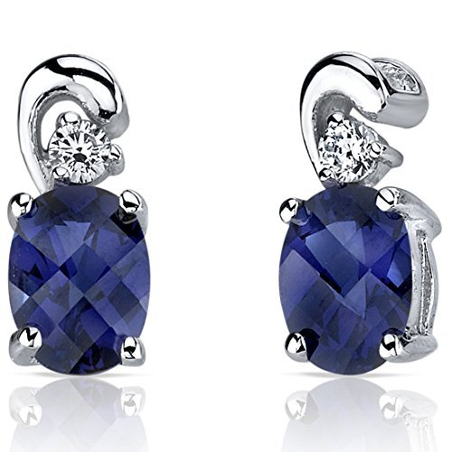 Created Blue Sapphire Earrings Sterling Silver CZ Accent 2.00 Carats by Peora
