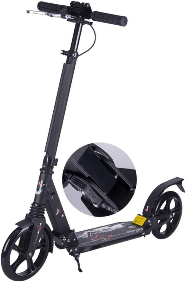 キックスクーター ハンドブレーキ、折りたたみ式通勤用スクーターおよび大車輪付き非電動成人用キックスクーター、サポート100kg、黒