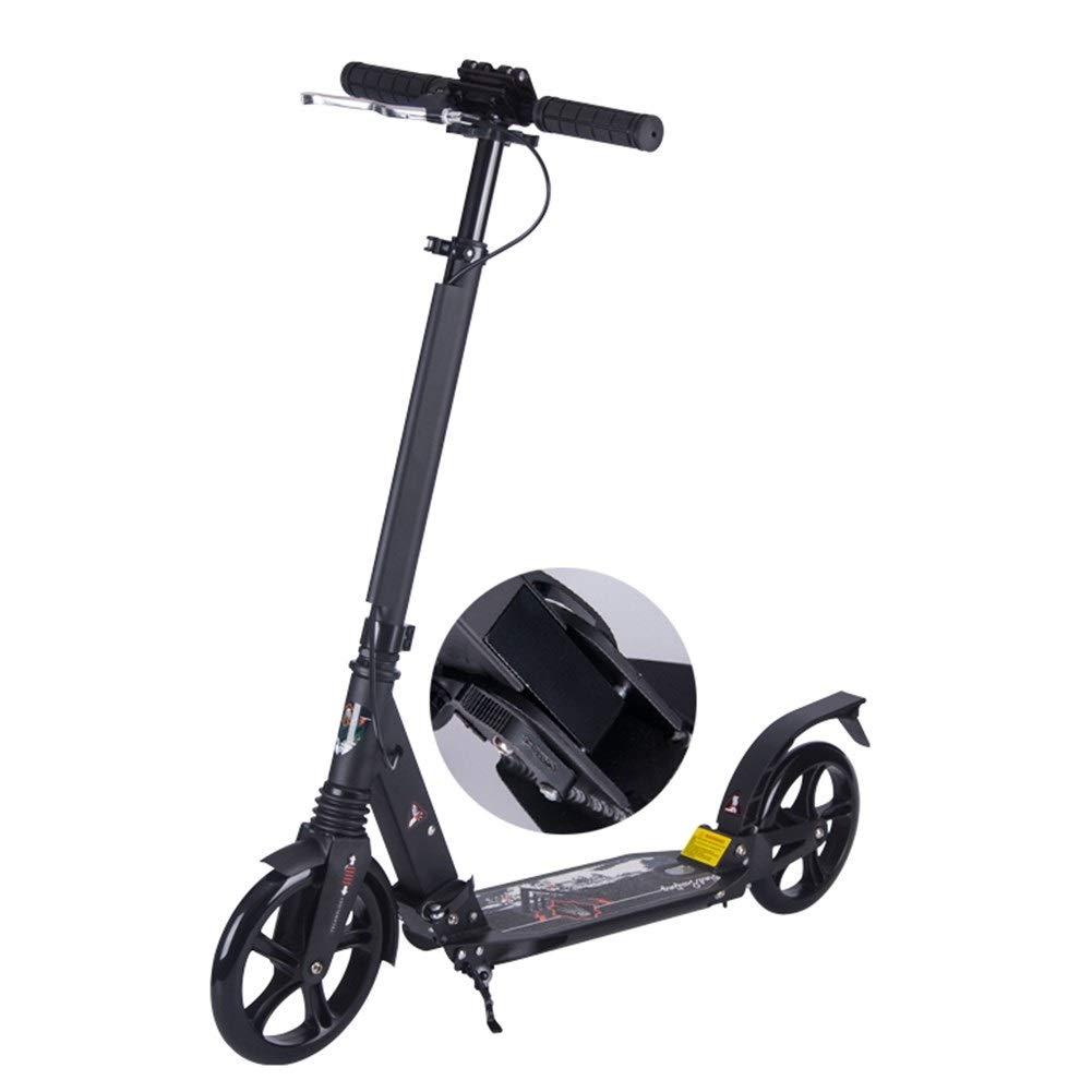 キックスクーター 女性向けの大人のキックスクーター、ハンドブレーキ付きの折りたたみ式通勤スクーター、大きな車輪、最大100kgまでの電気をサポート、非電動 (色 : ブラック) ブラック