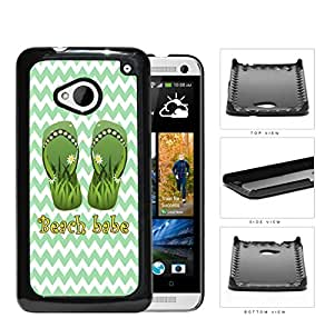 Beach Babe Sandals With Daisy Flowers Green Chevron Hard Plastic Snap On Cell Phone Case HTC One M7 by lolosakes
