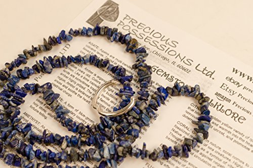 Lapis Lazuli Necklace Chip Beads Nuggets Long Royal Blue Strand 34 Inch with Clasp