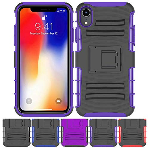 Price comparison product image iPhone XR Stand Case,  HLCT Rugged Shock Proof Dual-Layer Case with Built-in Kickstand for iPhone XR (Black Purple)
