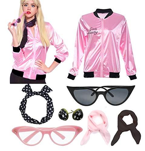zhongyichen Women 50S Pink Ladies Jacket with Rhinestone (S, Pink)