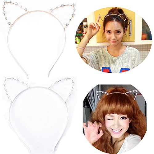 Rhinestone Cat Ears (Buytra Women's Girls Pearl Rhinestone Crystal Cat Kitty Ears Headband for Party Masquerade Fancy Dress Costume, Gold, Silver, Pack of 2)