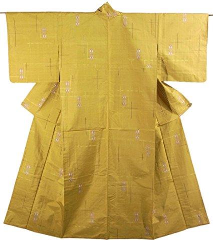 眩惑する拮抗考えリサイクル 着物 紬 ひとえ 十字模様やダイヤ柄 正絹 裄64cm 身丈148cm