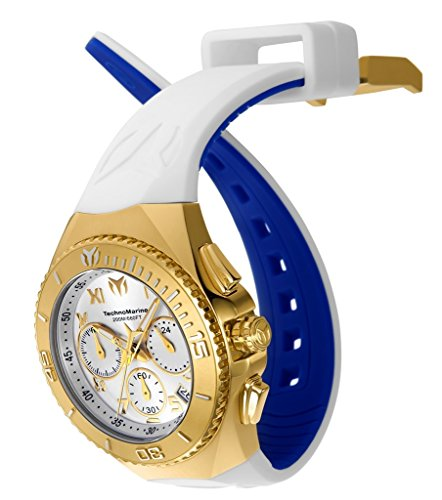 Technomarine Men's 'Manta' Quartz Stainless Steel and Silicone Casual Watch, Color:White (Model: TM-215080) (Chronograph New Stainless Steel Technomarine)