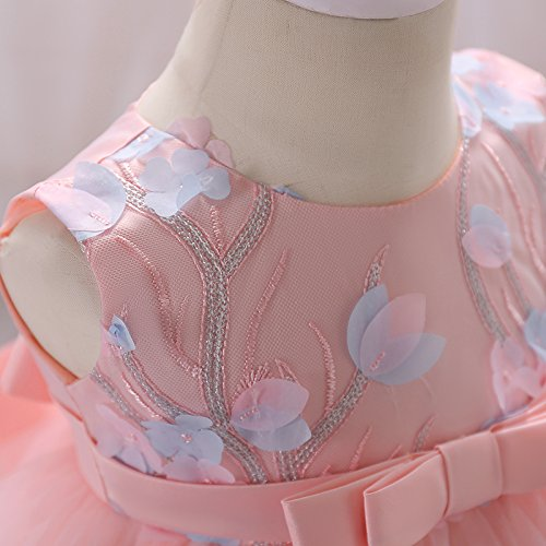 VIKITA Baby Mädchen Blumen Hochzeits Festlich Partykleid Geburtstag Prinzessin Kleid L1848Hellrotorange