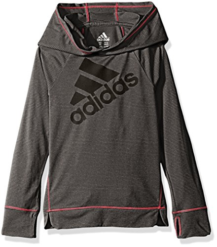 (adidas Little Girls' Performance Hoodie, Caviar Black,)