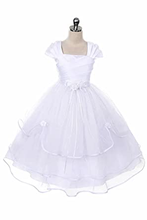 5938b938ae Girls First Communion Dress - Baptism Holy Communion Fancy Flower Girl  White Dress