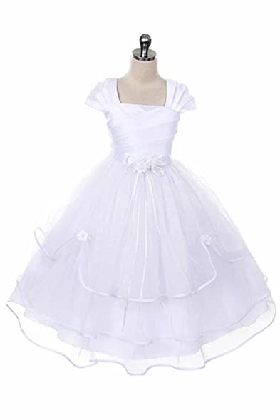 girls first communion dress baptism holy communion fancy flower girl white dress