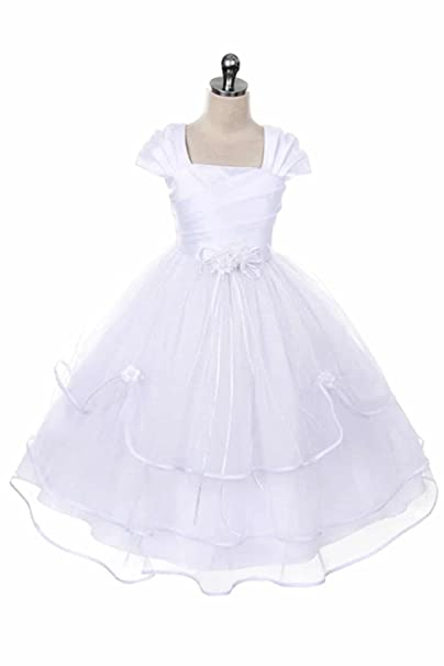 f391b1c6ac3 AMK Girls First Communion Dress - Baptism Holy Communion Fancy Flower Girl  White Dress  Amazon.ca  Clothing   Accessories