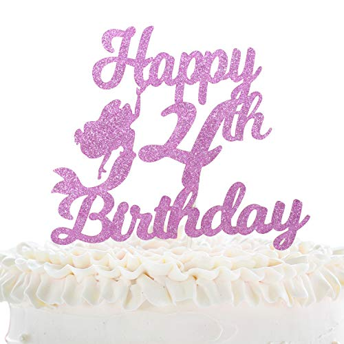 Happy 4th Birthday Cake Topper - Pink Glitter Ocean Mermaid Décor - Kids Fourth Birthday Party - Summer Pool Four Years Old Mermaid Party Cake Derocation -
