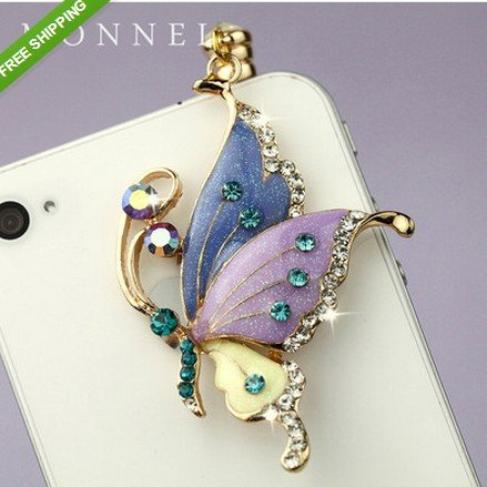 - Ip242B Crystal Purple Butterfly Dust Plug-Earphone Jack Accessories for for Iphone 4 4s / Ipad / Ipod Touch / Samsung / Other 3.5mm Ear Jack