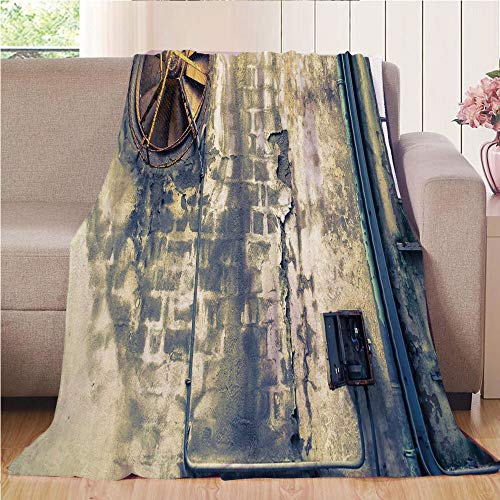 Blanket Comfort Warmth Soft Cozy Air Conditioning Fleece Blanket Perfect for Couch Sofa Or Bed,Industrial Decor,Damaged Wrecked Wall Image Destruction Vandalism Broken Deserted Workplace,Multicolor,