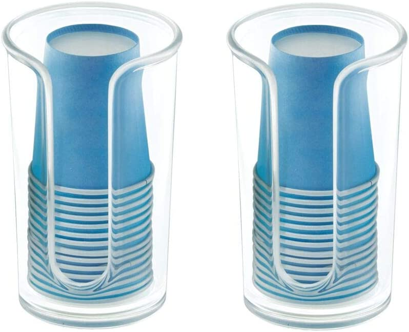 mDesign Modern Plastic Compact Small Disposable Paper Cup Dispenser - Storage Holder for Rinsing Cups on Bathroom Vanity Countertops - 2 Pack - Clear