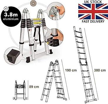 Escalera telescópica extensible de aluminio, 3,8 m (1,9 m + 1,9 m): Amazon.es: Bricolaje y herramientas
