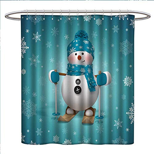 - Snowman Shower Curtains with Shower Hooks Skiing with Ornate Snowflakes Winter Vacation Activity Fun Hob Fabric Bathroom Set with Hooks W54 x L78 Turquoise White Pale Brown