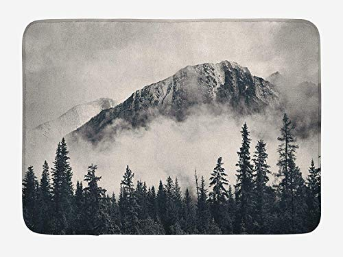 SunShine Day National Parks Bath Mat, Canadian Smokey Mountain Cliff Outdoors Idyllic Scenery Photo Artwork, Plush Bathroom Decor Mat with Non Slip Backing, 24 X 16 Inches, Black and White