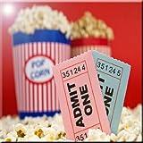 Rikki Knight Movie Stubs and Popcorn Design Art Ceramic Tile, 4 by 4-Inch