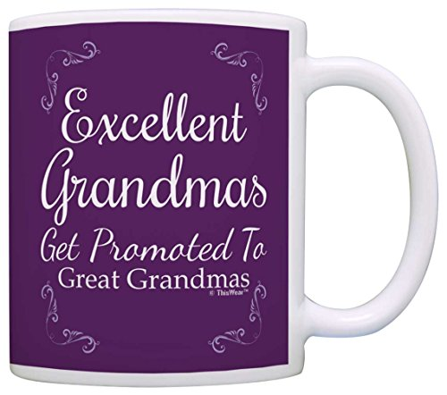 New Great Gifts - Great Grandma Gifts Excellent Grandmas Get Promoted to Great Grandma Gift Coffee Mug Tea Cup Purple