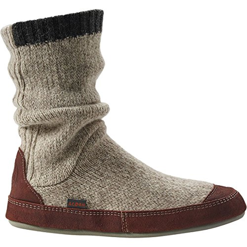 ACORN Men's Slouch Boot Slipper, Grey Ragg Wool, Medium/9-10 B US