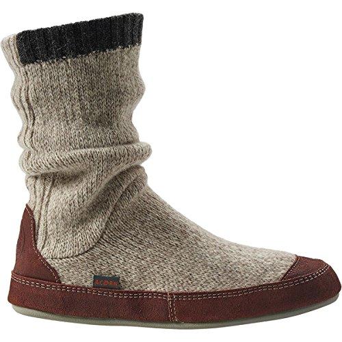 ACORN Men's Slouch Boot Slipper, Grey Ragg Wool, Medium/9-10 B US