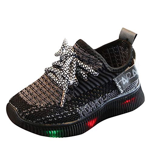 Baby Boys Girls Soft Knit Sneakers, LED Light Up Flashing Shoes Comfortable Footwear for Toddler/Little Kid Black