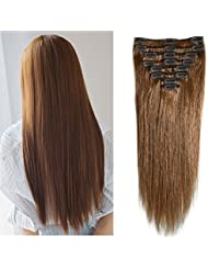 Amazon full head hair extensions extensions wigs clip in remy human hair extensions light brown 10 24 pmusecretfo Images