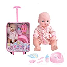 12inch Lifelike Baby Born Drink-Pee Vinyl Potty Doll Set with Plastic Stroller Girls Educational Toys Gift