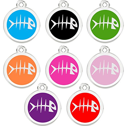 CNATTAGS Stainless Steel with Enamel Pet ID Tags Designers Round Fish