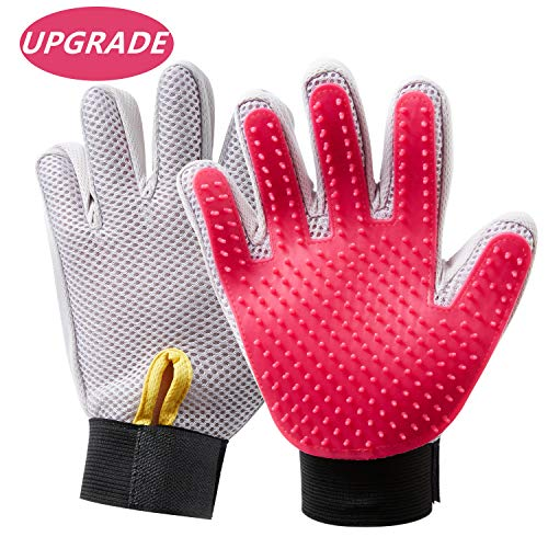 (HooSeen Grooming Glove Pair- Upgraded 259 Longer Tips Tangles Prevention Pet Massage Bath Five Fingers Brush Adjustable Wristband Gentle Deshedding Larger for Cats Rabbits Dogs Long Short Hair Rose)