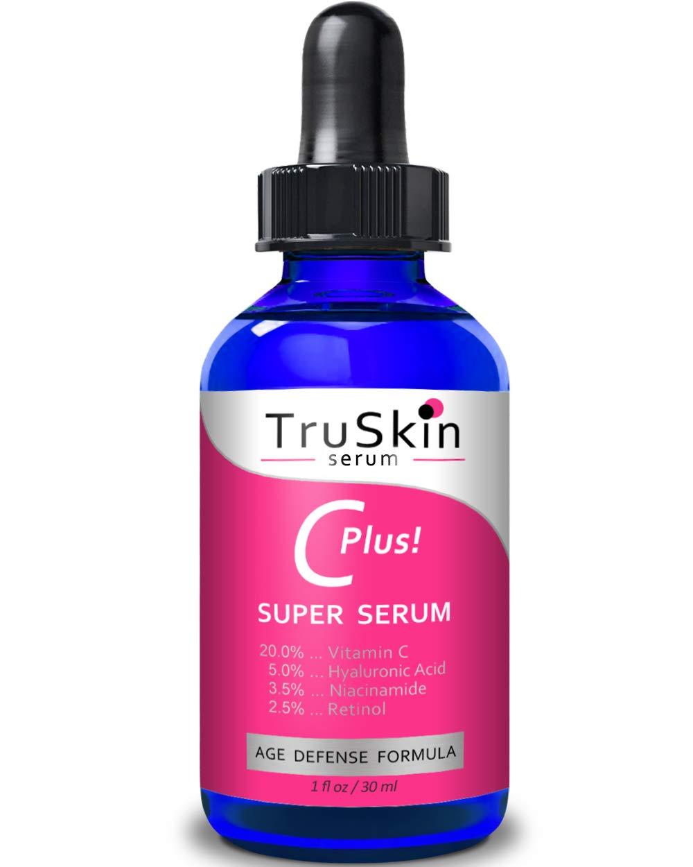 TruSkin Vitamin C-Plus Super Serum, Anti Aging Anti-Wrinkle Facial Serum with Niacinamide, Retinol, Hyaluronic Acid, and Salicylic Acid, 1 oz by TruSkin Naturals (Image #2)