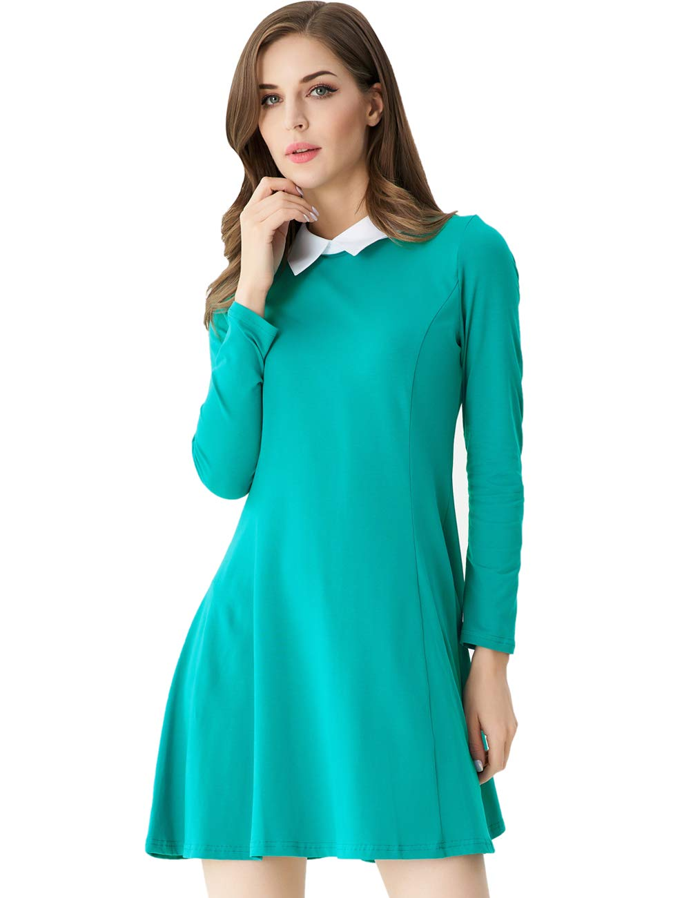 Aphratti Women's Long Sleeve Casual Peter Pan Collar Flare Dress Peacock-Green Small by Aphratti