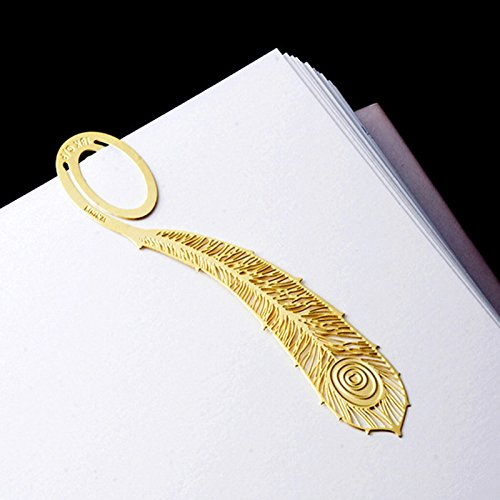(Luweki 2Pcs Book Magazine Label Mark Kid Reading Bookmark Feather Metal Clip)