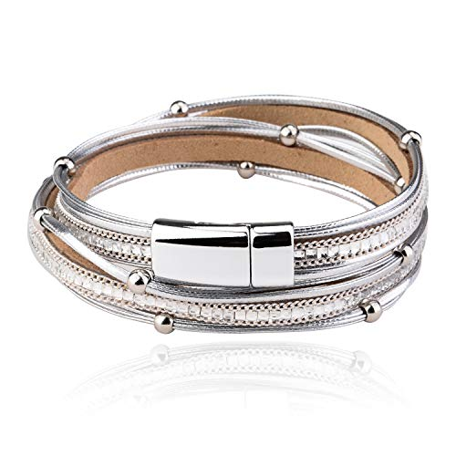 - MALDON Plus Size Casual Leather Wrap Bracelet with Magnetic Clasp for Women,Lady,Wife Gift,Large Size,16 to 18 inches (Silver, 16)