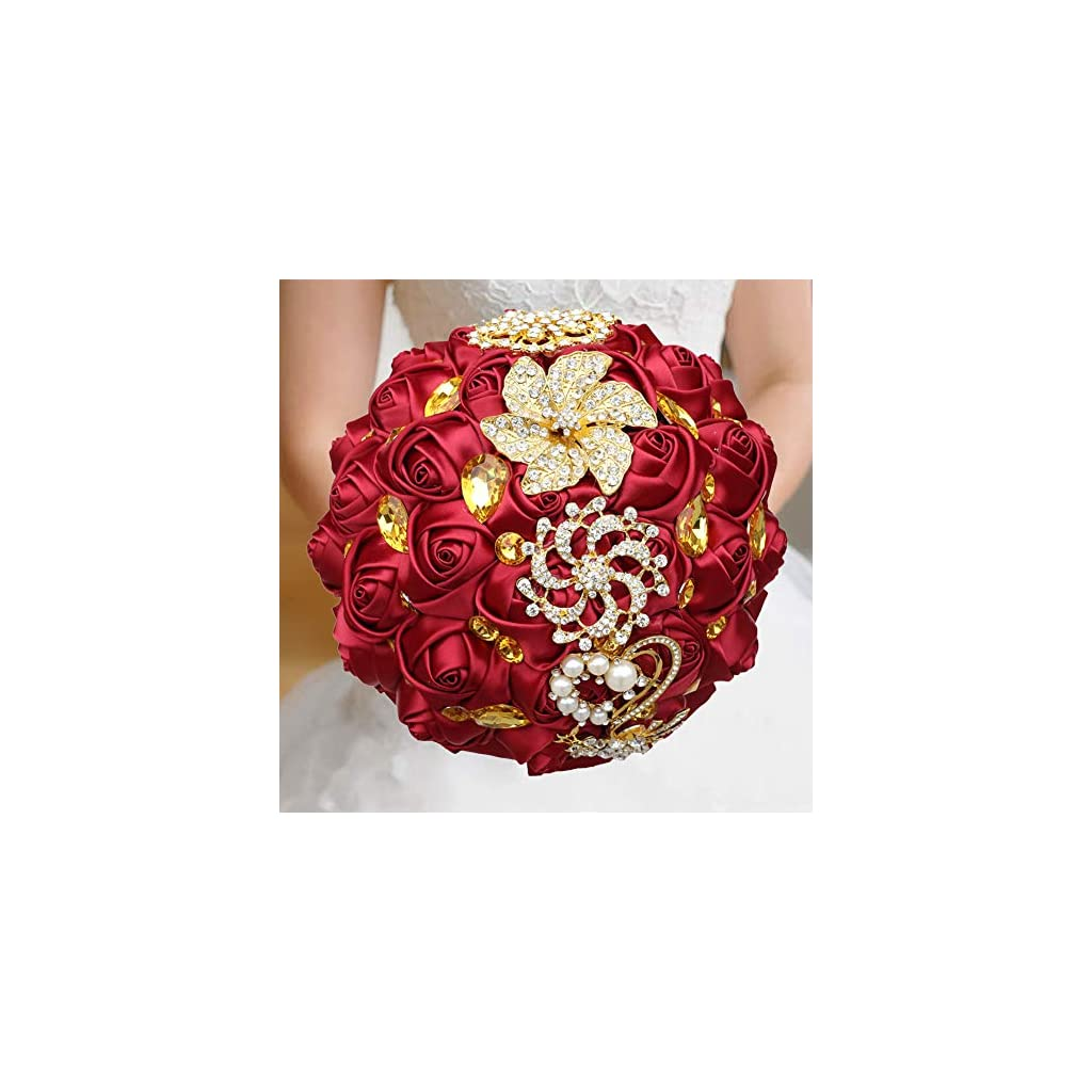 WIFELAI-A Dark Red Wedding Flowers Bridal Bouquets Rhinestone Brooch Flowers Crystal Bride Holding Bouquet White Ivory Satin Roses with Diamond Pearl Ribbon (Dia:8.26inchH:10inch Dark Red W227Q-10)