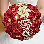 WIFELAI-A-Dark-Red-Wedding-Flowers-Bridal-Bouquets-Rhinestone-Brooch-Flowers-Crystal-Bride-Holding-Bouquet-White-Ivory-Satin-Roses-with-Diamond-Pearl-Ribbon-Dia826inchH10inch-Dark-Red-W227Q-10