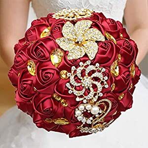 WIFELAI-A Dark Red Wedding Flowers Bridal Bouquets Rhinestone Brooch Flowers Crystal Bride Holding Bouquet White Ivory Satin Roses with Diamond Pearl Ribbon (Dia:8.26inchH:10inch Dark Red W227Q-10) 89