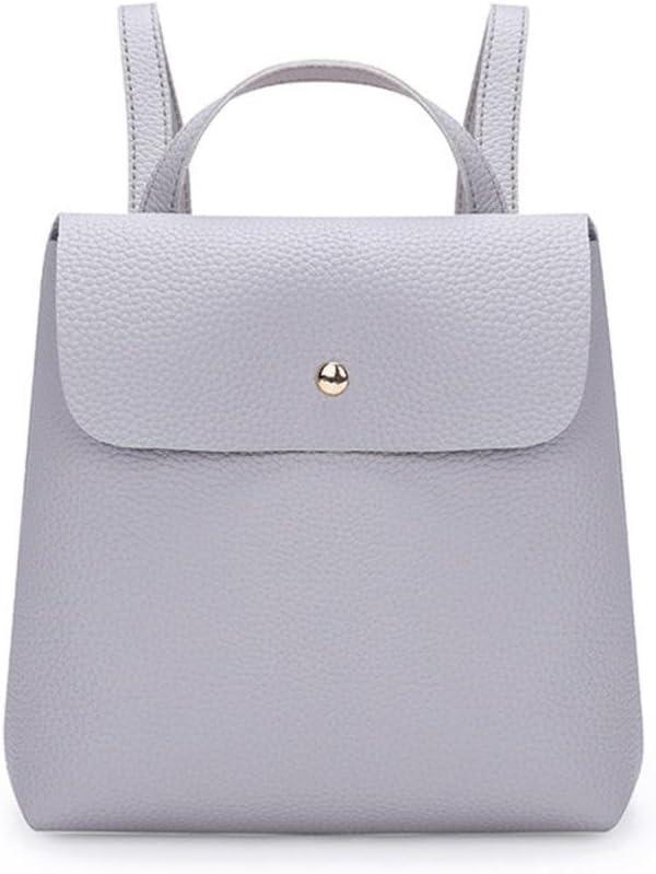 Black NXDA Fashion Women Girl Pure Color Leather Bags Mini Backpack Travel Rucksack School Bag
