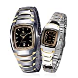 BINLUN His and Hers Gifts 18k Gold Plated Tungsten Rectangle Couple Watches for Men and Women with Date