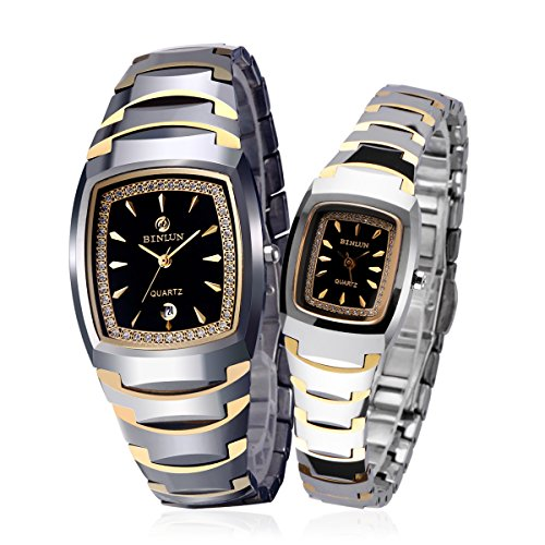 BINLUN-His-and-Hers-Gifts-18k-Gold-Plated-Tungsten-Rectangle-Couple-Watches-for-Men-and-Women-with-Date