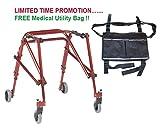 Drive Nimbo 2G Lightweight Posterior Walker, Medium, Castle Red & FREE Medical Utility Bag Black! - #KA3200-2GCR