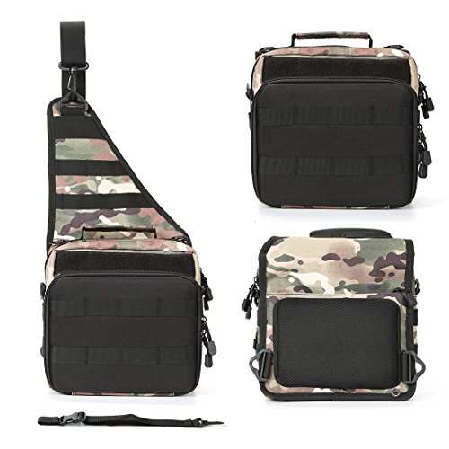 BLISSWILL Sports Shoulder Bag Outdoor Multifunctional Fishing Tackle Bag Water-Resistant sided Shoulder Carry Strap Storage Sling Bag (Woodland Camouflage)