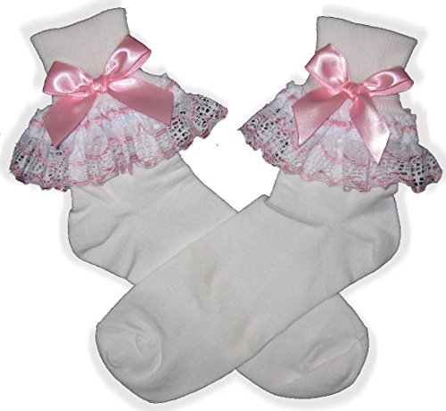 Leanne's Pretty Dresses Pink White Lace Bows Lacy Socks For Adult Little Girl Sissy Boy Dress up Leanne (Mens)